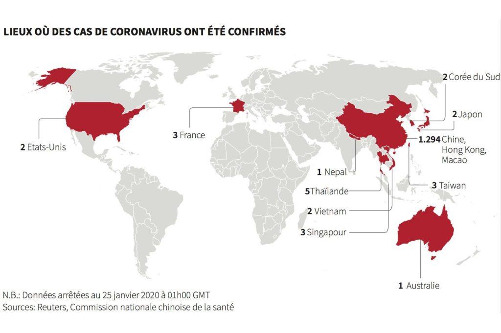 Cartographie des zones atteintes par le coronavirus  (à la date du 2 février 2020)